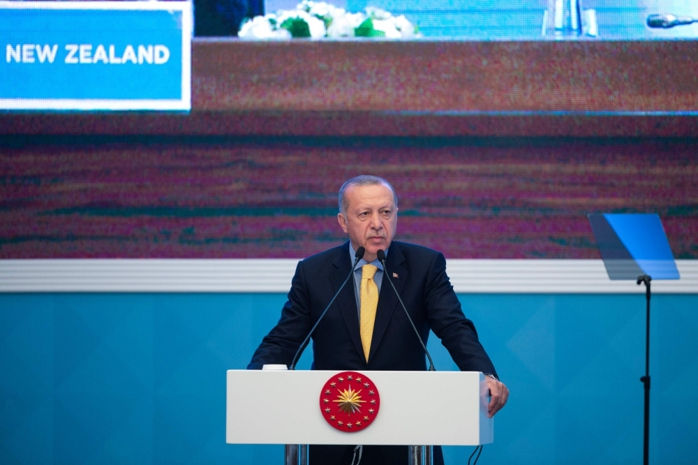 Turkish President Recep Tayyip Erdogan delivers a speech during an emergency meeting of the Organisation of Islamic Cooperation in Istanbul, Turkey, on Friday. — AFP