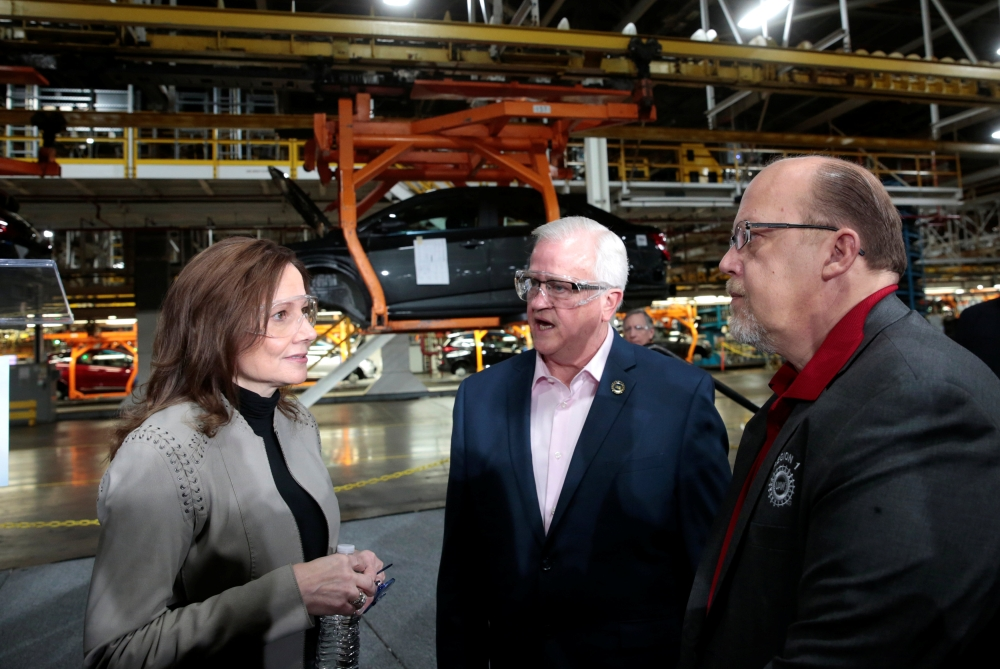 General Motors Chief Executive Officer Mary Barra talks with United Auto Workers union Vice President Terry Dittes and UAW Region 1 Director Frank Stuglin at the GM Orion Assembly Plant in Lake Orion, Michigan, US, Friday. — Reuters