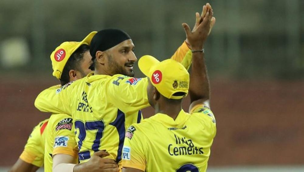 Harbhajan Singh of Chennai Super Kings celebrates.