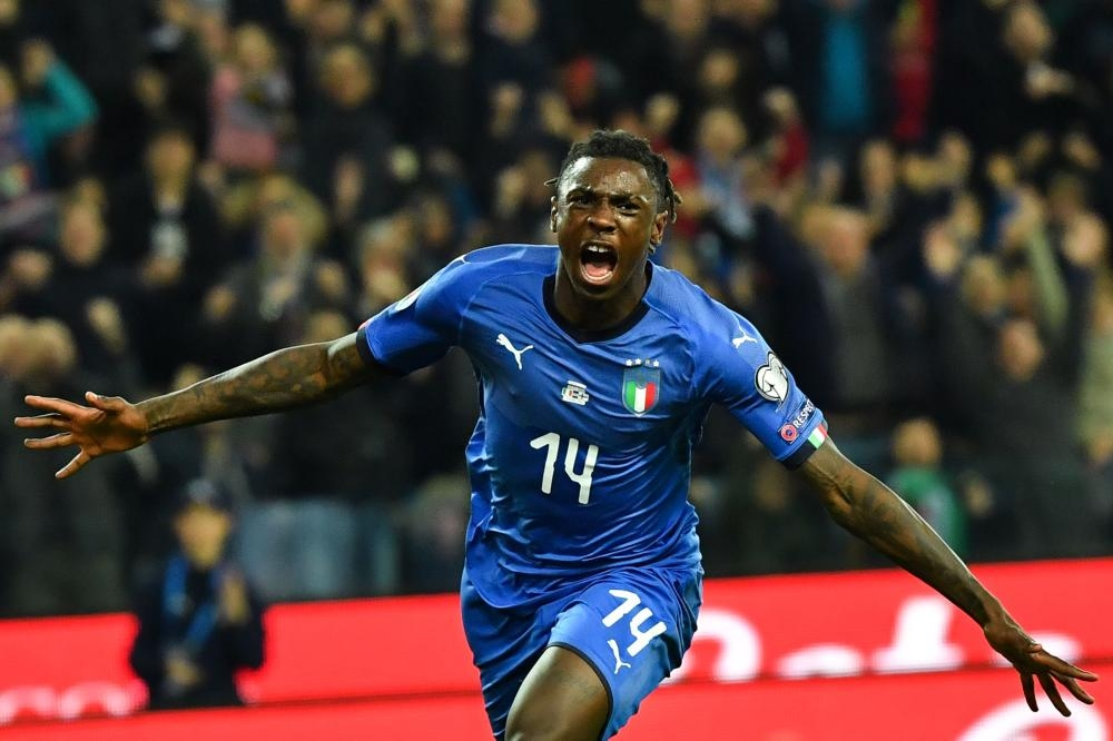 Italy's Moise Kean celebrates after scoring during the Euro 2020 Group J qualifying match against Finland at the Friuli Stadium in Udine Saturday. — AFP