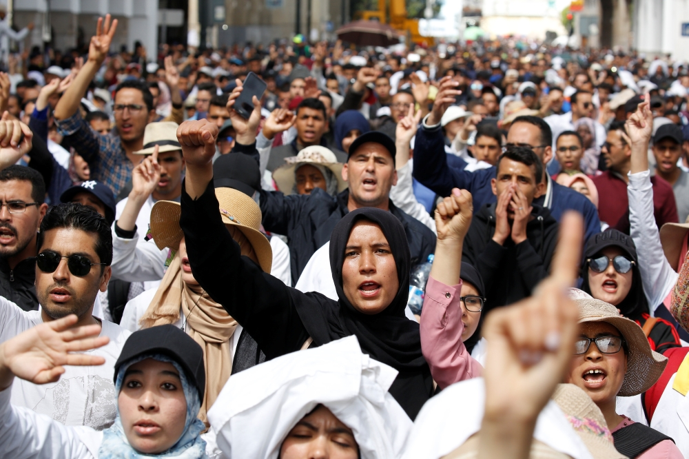 Teachers protest for better work conditions in Rabat, Morocco. — Reuters