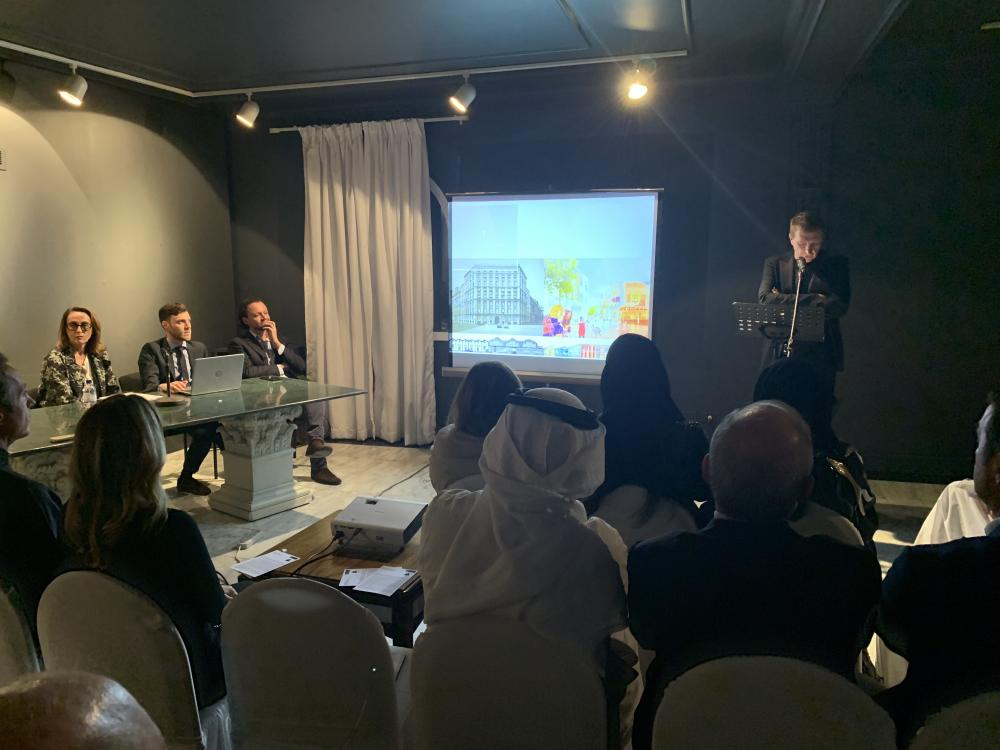 "A New Urban Value Branding Public Space"" conference at the Italian Club in Jeddah."