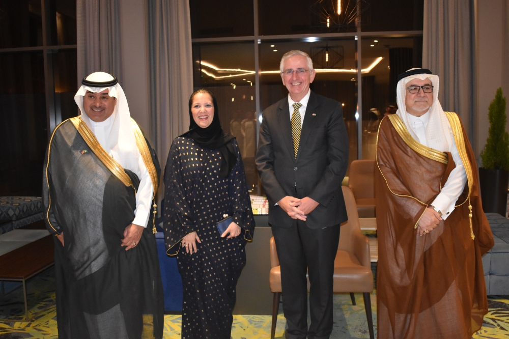 From left, Honorary Consul of Denmark Sheikh Majed Al-Hokair, Dina Khayat of the Saudi Ministry of Foreign Affairs and Denmark's Ambassador Ole Moesby at the birthday celebrations.