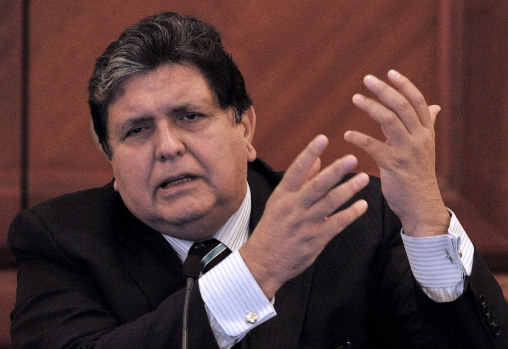 Peruvian President Alan Garcia inaugurates the 3rd Meeting of Ministers of Finance of the Americas and the Caribbean held in Lima in this May 28, 2010 file photo. — AFP
