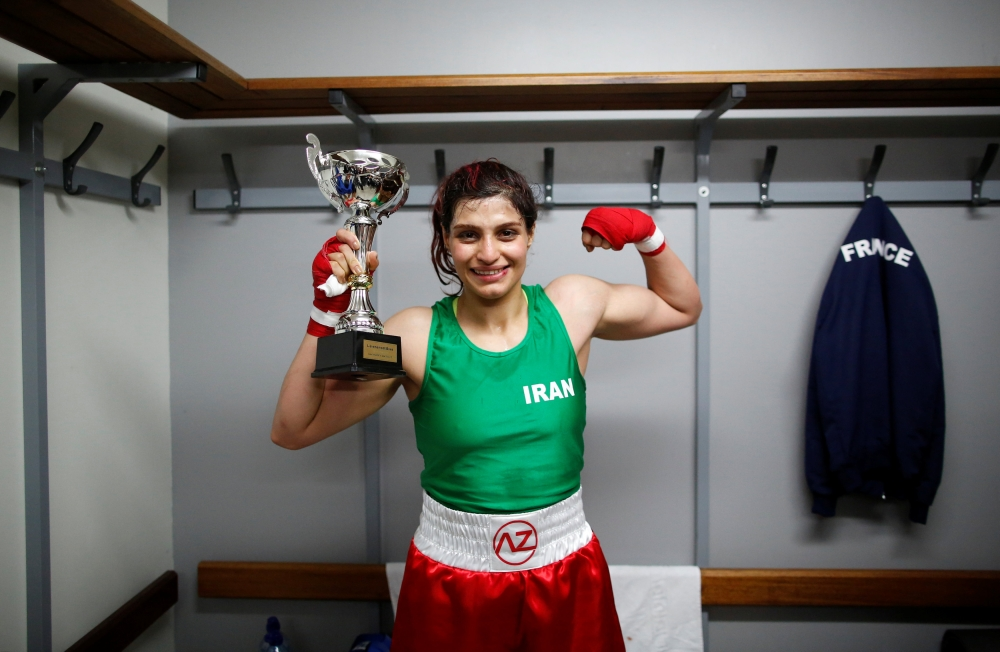 Iranian boxer Sadaf Khadem poses in the locker room after winning the fight against French boxer Anne Chauvin during an official boxing bout in Royan, France, in this April 13, 2019, file photo. — Reuters