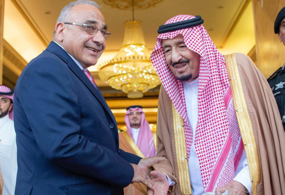 Custodian of the Two Holy Mosques King Salman receiving Prime Minister of Iraq Adil Abdul-Mahdi at Al-Yamamah Palace in Riyadh on Wednesday. — SPA