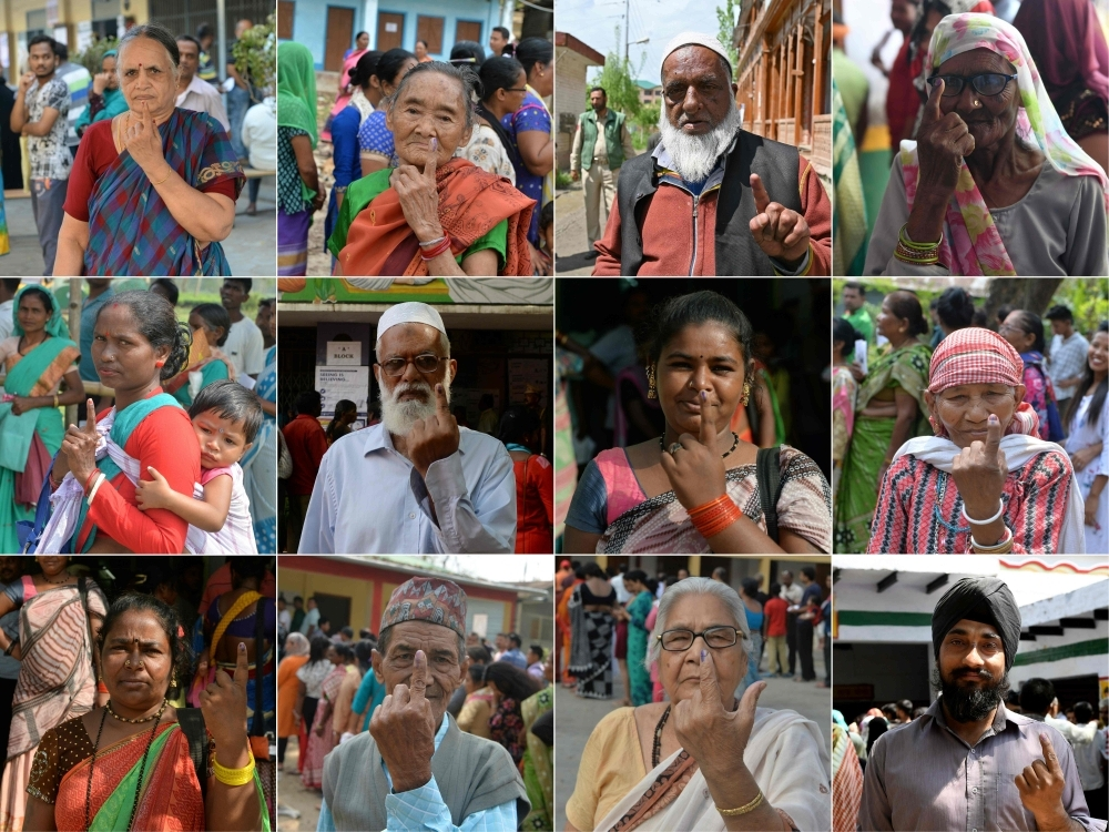 This combination of pictures taken and created on Thursday shows Indian voters showing their ink-marked fingers after casting their vote during the second phase of the mammoth Indian elections at various polling stations across India.