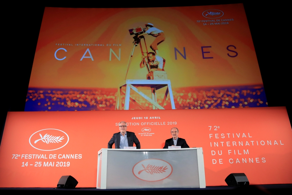 Cannes Film festival general delegate Thierry Fremaux and Cannes Film festival president Pierre Lescure attend a news conference to announce the official selection for the 72nd Cannes International Film Festival in Paris, France, Thursday. — Reuters