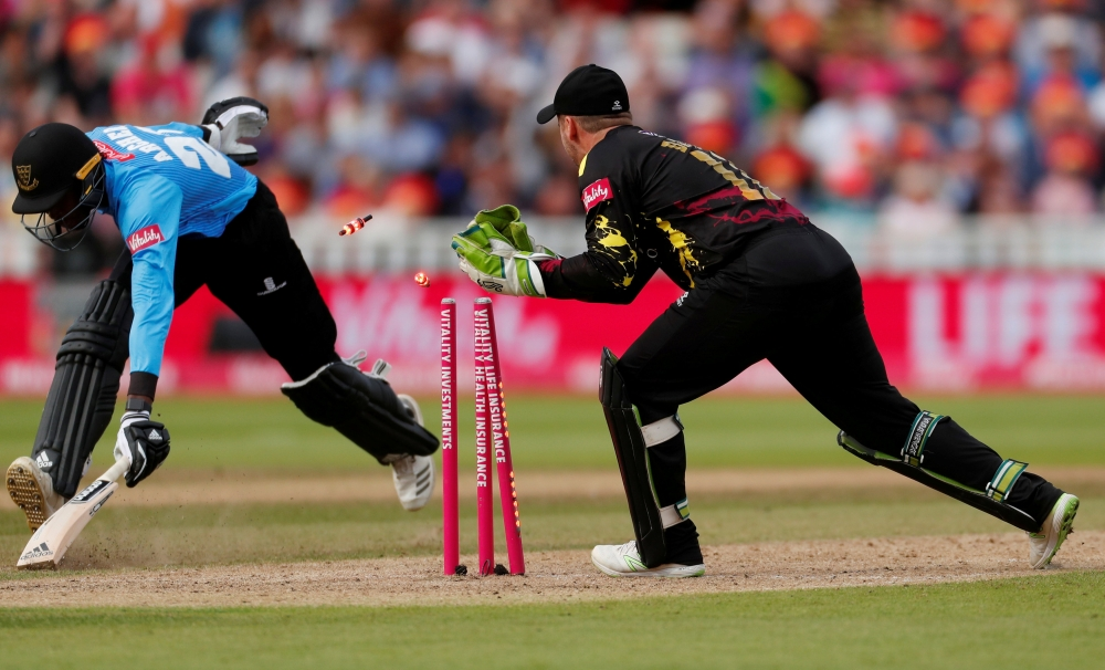 Sussex Sharks' Jofra Archer is run out from the last ball of the innings during the T20 Blast Finals Day at Edgbaston, Birmingham, Britain, in this file photo. — Reuters