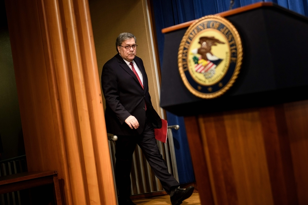 US Attorney General William Barr arrives for a press conference about the release of the Mueller Report at the Department of Justice in Washington on Thursday. — AFP