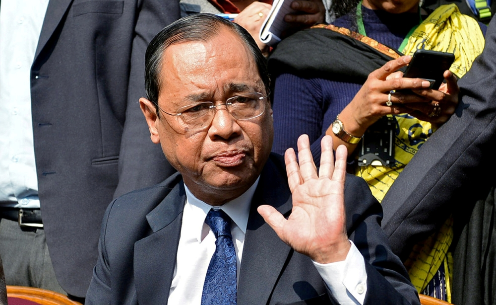 Ranjan Gogoi, a Supreme Court judge, gestures as he addresses the media at a news conference in New Delhi, India, in this Jan. 12, 2018 file photo. — Reuters