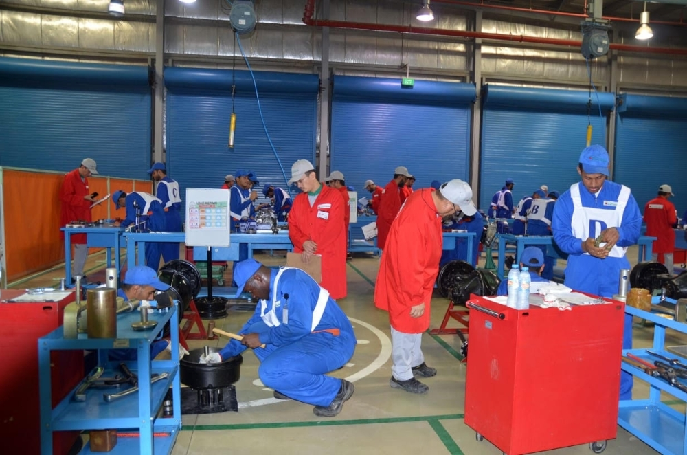 Graduates of the Saudi-Japanese Automobile High Institute (SJAHI) in Jeddah test their skills at the 16th technical skills competition held by the institute.
