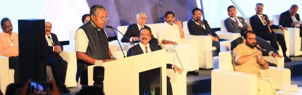 File photo shows P. Sreeramakrishnan presiding over the Dubai regional conference of Loka Kerala Sabha, inaugurated by Kerala Chief Minister Pinarayi Vijayan.