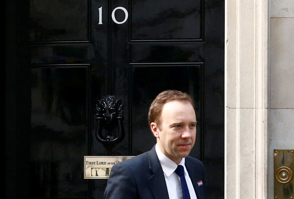 Britain's Secretary of State for Health Matt Hancock is seen outside Downing Street, as uncertainty over Brexit continues, in London. — Reuters