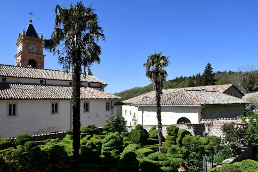 Tis photograph taken on May 2, 2019, shows a general view of the Trisulti Monastery Certosa di Trisulti in Collepardo. The man behind a would-be