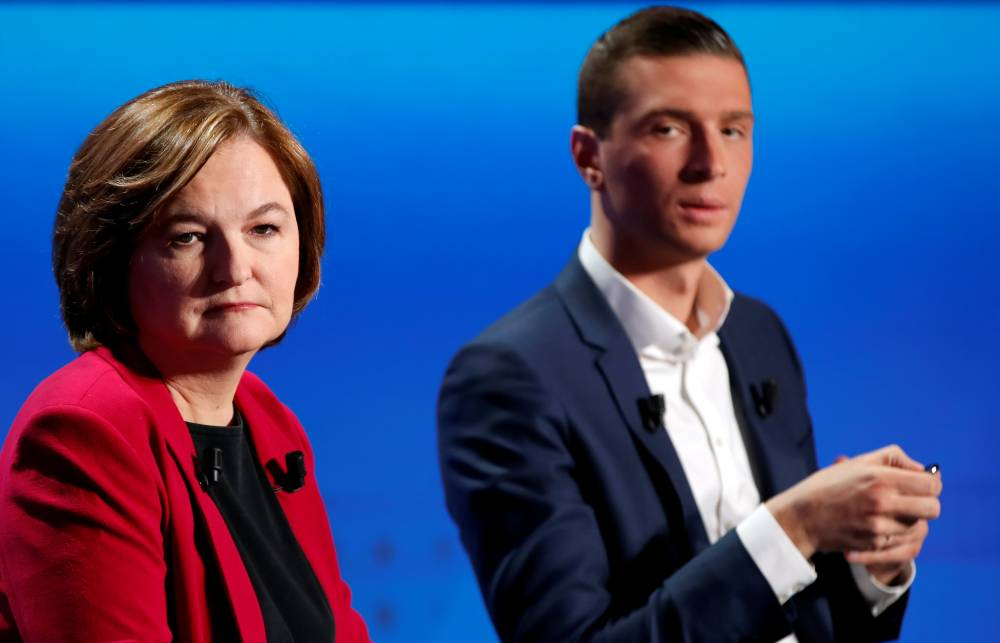 Nathalie Loiseau, head of the Renaissance (Renewal) list for the European elections, and Jordan Bardella, the head of the National Rally list for the European elections, attend a debate organized by French public national television broadcaster France Televisions in Paris on April 4, 2019. — Reuters file photo