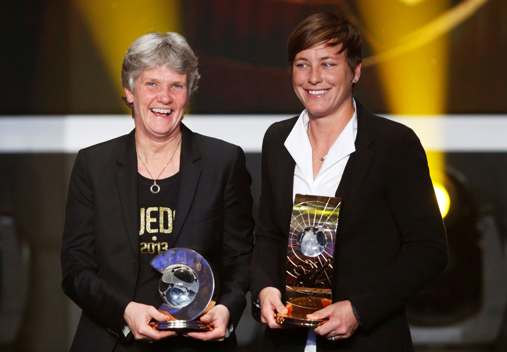 Pia Sundhage of Sweden (L) FIFA Women's Football Coach of the Year 2012 poses with FIFA Women's World Player of the Year 2012 Abby Wambach of the US, during the FIFA Ballon d'Or 2012 soccer awards ceremony at the Kongresshaus in Zurich in this file photo. — Reuters