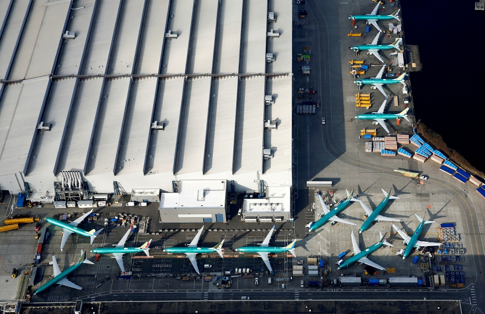 An aerial photo shows Boeing 737 MAX airplanes parked on the tarmac at the Boeing Factory in Renton, Washington, US. March 21, 2019. — Reuters