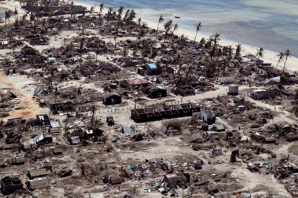 Buildings damaged during Cyclone Kenneth are seen from the air in a village north of Pemba, Mozambique, May 1. - Reuters