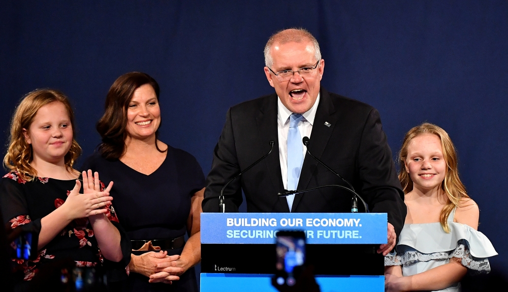 Australia's Prime Minister Scott Morrison with wife Jenny, children Abbey and Lily after winning the 2019 Federal Election, at the Federal Liberal Reception at the Sofitel-Wentworth hotel in Sydney, Australia, May 18, 2019. — Reuters