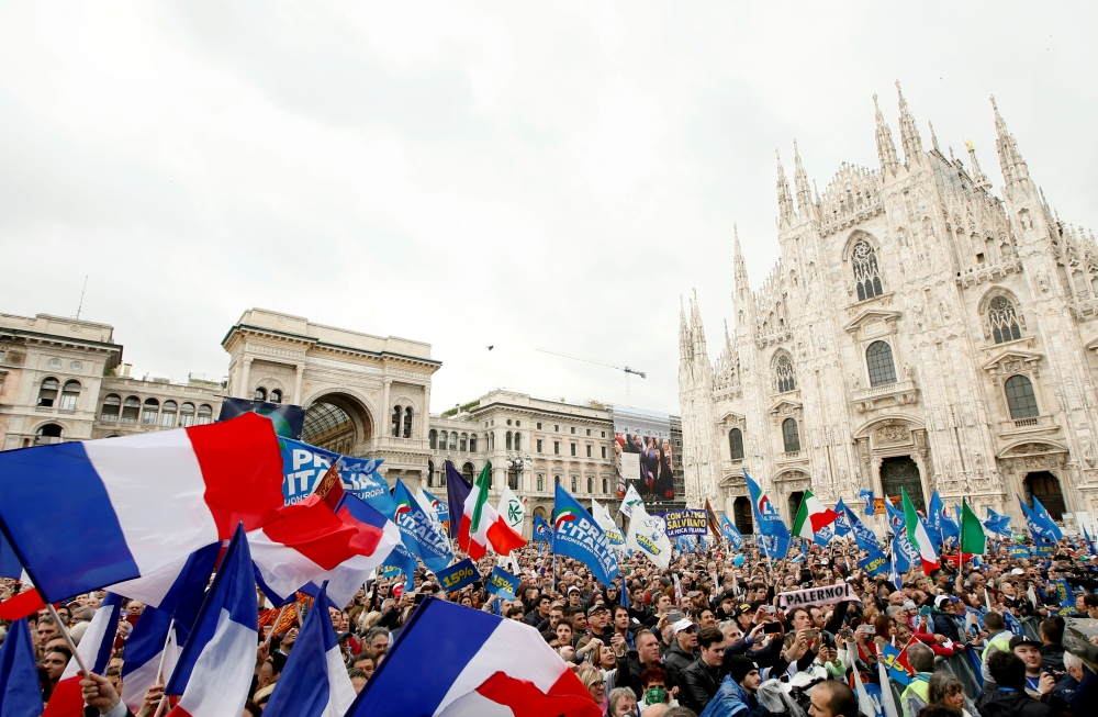 People attend a major rally of European nationalist and far-right parties ahead of EU parliamentary elections in Milan, Saturday. — Reuters