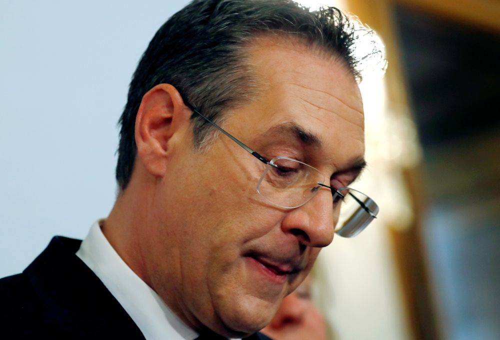 Austrian Vice Chancellor Heinz-Christian Strache reacts as he addresses the media in Vienna, Austria, on Saturday. — Reuters