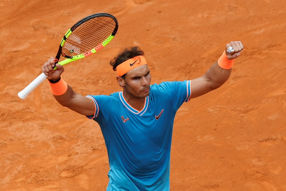 Spain's Rafael Nadal celebrates after winning his semi final match against Greece's Stefanos Tsitsipas in Rome. — Reuters