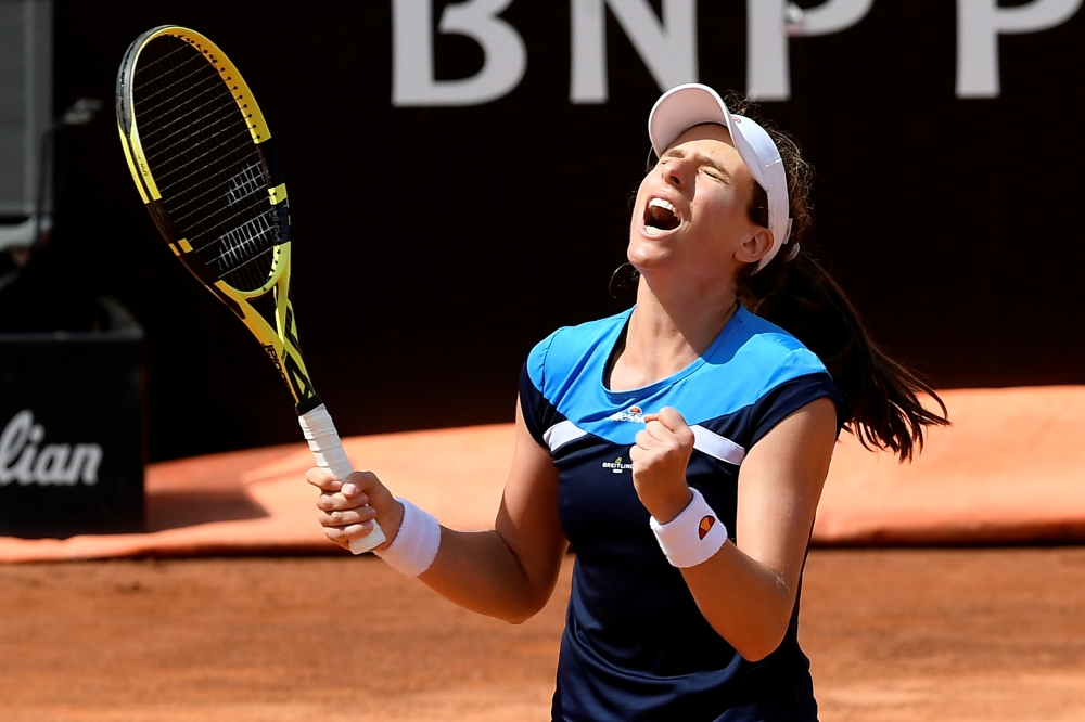 Britain's Johanna Konta celebrates winning her semi final match against Netherlands' Kiki Bertens in Rome. — Reuters
