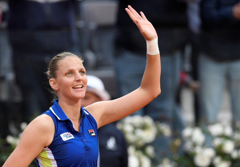 Czech Republic's Karolina Pliskova celebrates after winning her semi final match against Greece's Maria Sakkari in Rome. — Reuters