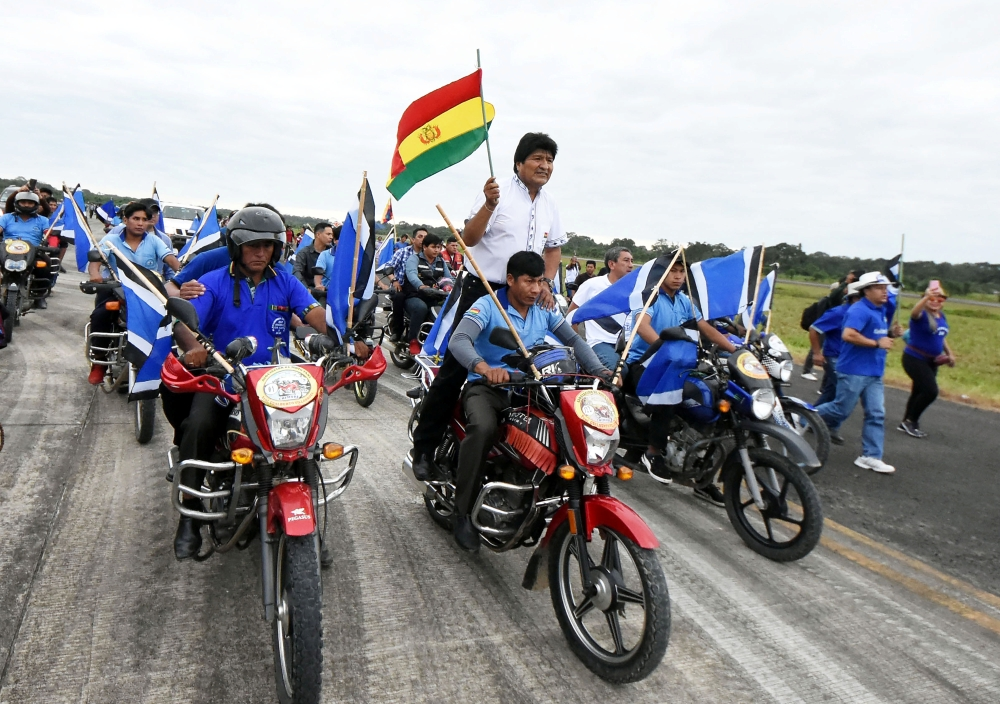 Bolivian President Evo Morales arrives to a rally in Chimore in the Chapare region, Bolivia, on Saturday. — Reuters