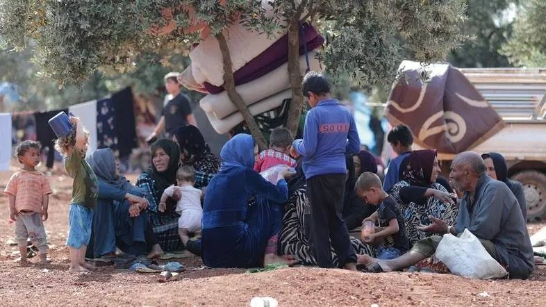 Displaced Syrians sit together in an olive grove in Atmeh town, Idlib province. — Reuters photos