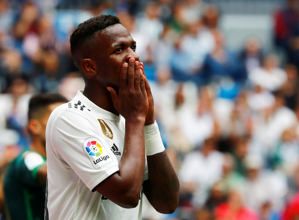 Real Madrid's Vinicius Junior reacts after a missed chance in Santiago Bernabeu, Madrid, on Sunday. — Reuters