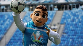 Skillzy, the official mascot for Euro 2020 soccer tournament, performs during a presentation at Saint Petersburg Stadium in St. Petersburg, Russiain this March 27, 2019 file photo. — Reuters