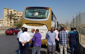 A damaged bus is seen at the site of a blast near a new museum being built close to the Giza pyramids in Cairo, Egypt. — Reuters