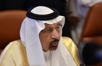Saudi Energy Minister Khalid Al-Falih speaks to the media before the OPEC 14th Meeting of the Joint Ministerial Monitoring Committee in Jeddah, Sunday. — Reuters