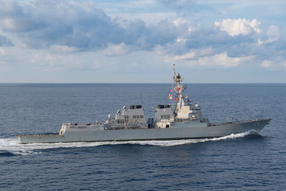 The Arleigh Burke-class guided-missile destroyer USS Preble (DDG 88) transits in the Indian Ocean, March 29. - Reuters