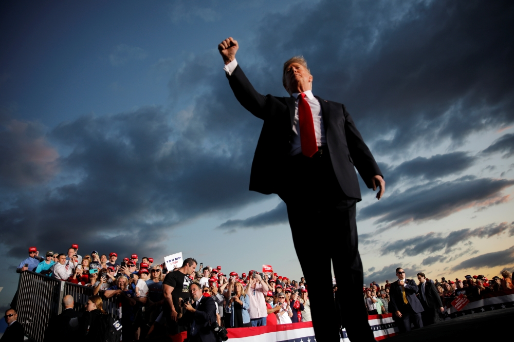 US President Donald Trump reacts as he addresses a Trump 2020 re-election campaign rally in Montoursville, Pennsylvania, U.S. May 20.- Reuters