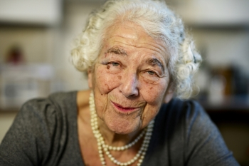 British children's writer and illustrator Judith Kerr chats as she sits in her kitchen at her home in west London on Sept. 30, 2015. — Reuters
