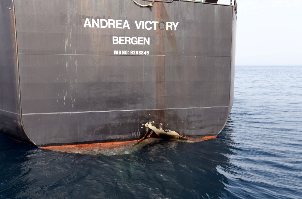 A damaged Andrea Victory ship is seen off the Port of Fujairah, United Arab Emirates, in this May 13, 2019 file photo. — Reuters