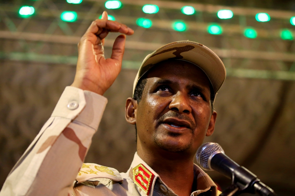 General Mohamed Hamdan Dagalo, head of the Rapid Support Forces (RSF) and deputy head of the Transitional Military Council (TMC) delivers an address after the Ramadan prayers and Iftar organized by Sultan of Darfur Ahmed Hussain in Khartoum, Sudan, in this May 18, 2019 file photo. — Reuters