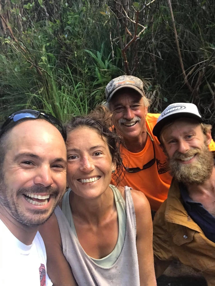 In this social media image shows missing hiker Amanda Eller, second left, with her rescuers, left to right, Javier Cantellops, Troy Helmer and Chris Berquist, on Friday, at Makawao Forest Reserve on the Hawaiian Island of Maui. — AFP