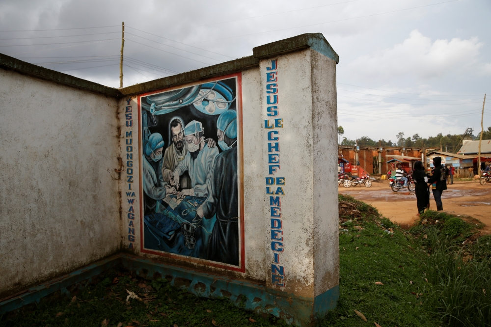 A sign is seen outside an Ebola transit centre in the town of Katwa, near Butembo, in the Democratic Republic of Congo, in this March 26, 2019 file photo. — Reuters