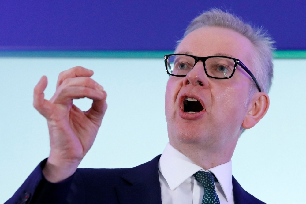 Britain's Environment, Food and Rural Affairs Secretary Michael Gove launches his Conservative Party leadership campaign in London on Monday. — AFP
