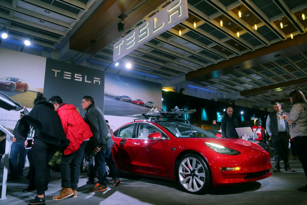 A Tesla Model 3 car is displayed at the Canadian International AutoShow in Toronto, Ontario, Canada, in this Feb. 15, 2019, photo. — Reuters