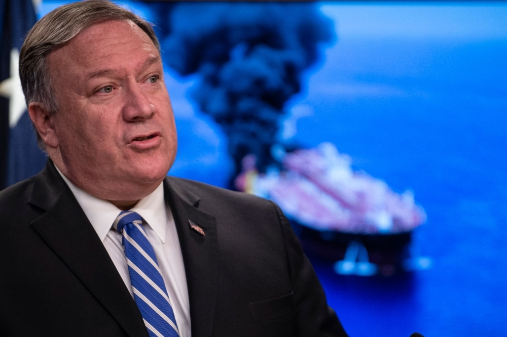 US Secretary of State Mike Pompeo delivers remarks to the media at the State Department in Washington, DC on Thursday. US Secretary of State Mike Pompeo accused Iran of being behind attacks on two tanks in the Gulf of Oman Thursday, and said it was taking the case to the UN Security Council.— AFP