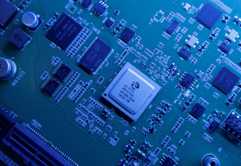 Hi1710 BMC management chip is seen on a Kunpeng 920 chipset designed by Huawei's Hisilicon subsidiary is on display at Huawei's headquarters in Shenzhen, Guangdong province, China. — Reuters