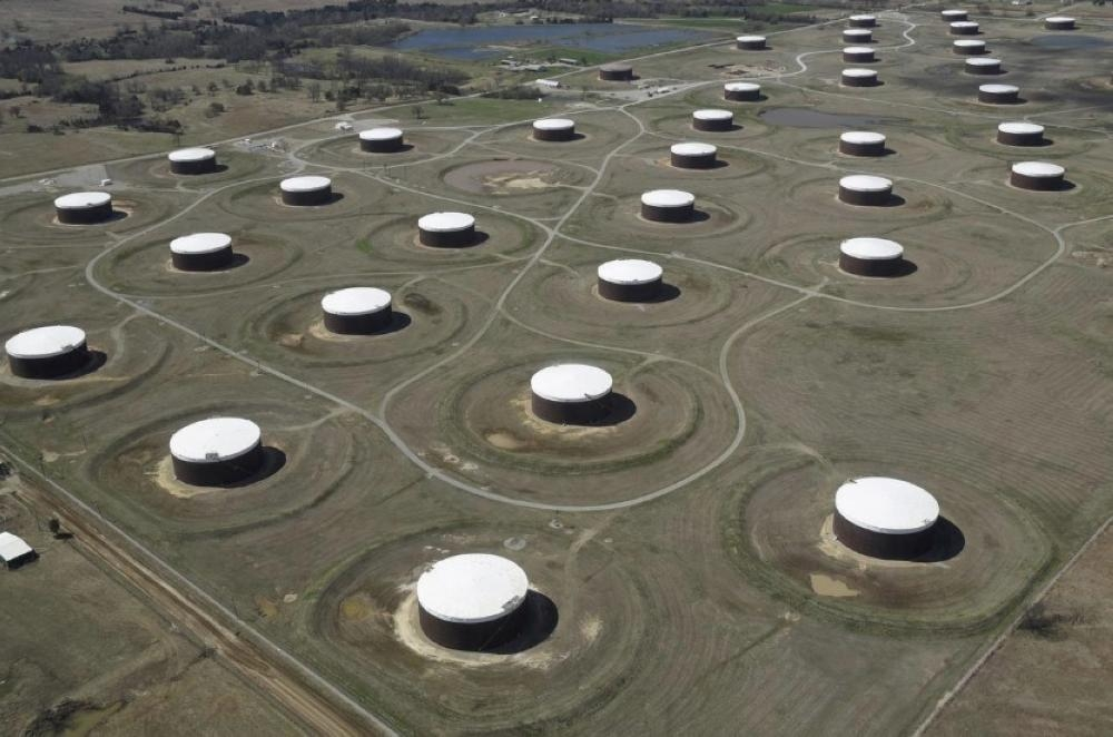 Crude oil storage tanks are seen from above at the Cushing oil hub, in Cushing, Oklahoma, in this March 24, 2016 file photo. — Reuters