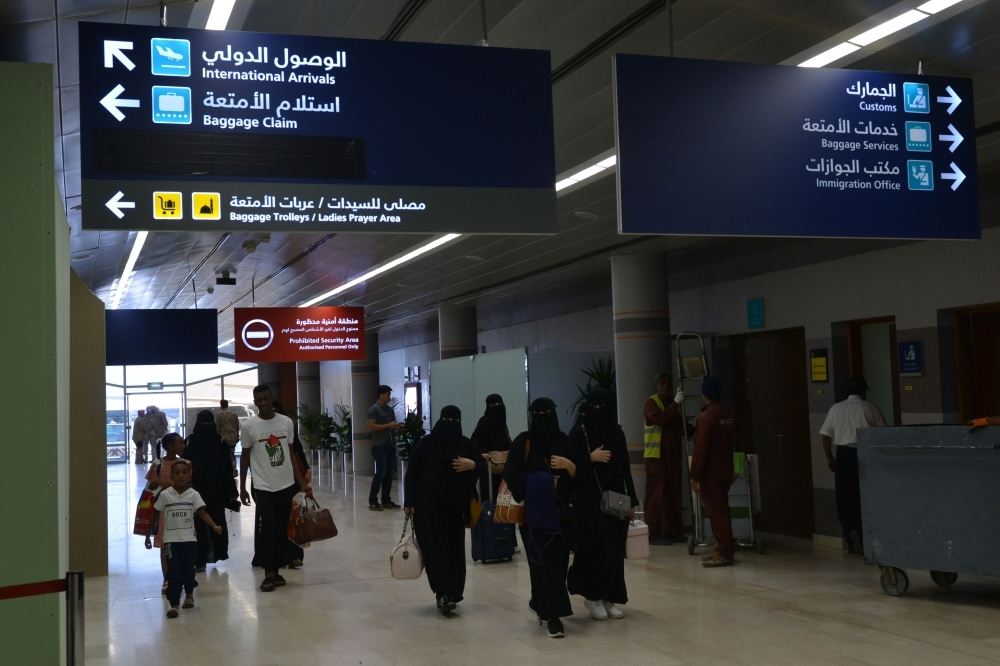 Saudi women arriving at Abha airport which is operating normally . — AFP