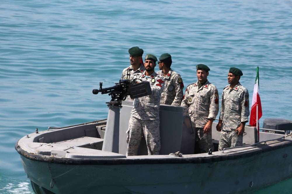 In this file photo taken on April 30, 2019, Iranian soldiers take part in a drill in the Strait of Hormuz. — AFP