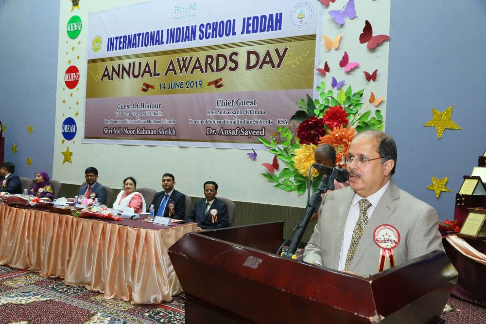 Dr. Ausaf Sayeed, ambassador of India and patron of International Indian Schools, addresses the gathering.